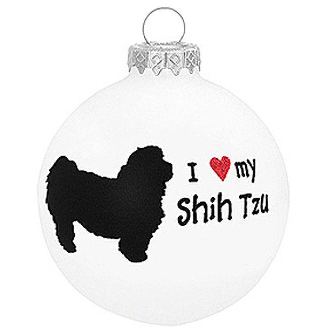 I Love My Shih Tzu Dog Ornament Christmas Holiday Glass ...