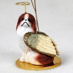 Japanese-Chin-Dog-Figurine-Angel-Statue-Ornament-BrownWht-400262614457
