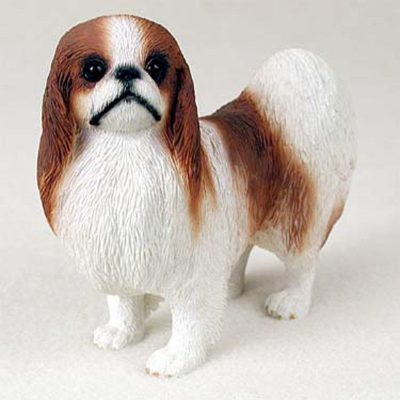 Japanese-Chin-Hand-Painted-Collectible-Dog-Figurine-Statue-Red-180774500686
