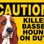 Killer-Basset-Hound-On-Duty-Dog-Sign-Magnet-Velcro-5×7-181334103327