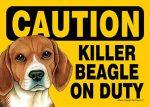 Killer-Beagle-On-Duty-Dog-Sign-Magnet-Velcro-5x7-400611475321