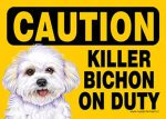 Killer-Bichon-On-Duty-Dog-Sign-Magnet-Velcro-5x7-Puppy-Cut-181334103989