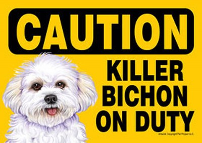 Killer-Bichon-On-Duty-Dog-Sign-Magnet-Velcro-5×7-Puppy-Cut-181334103989