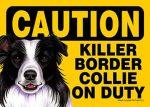 Killer-Border-Collie-On-Duty-Dog-Sign-Magnet-Velcro-5x7-181140169895
