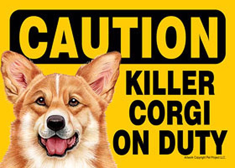 Killer Corgi On Duty Magnetic Sign 5x7