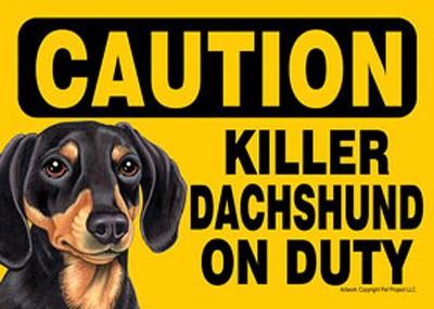 Killer-Dachshund-On-Duty-Dog-Sign-Magnet-Velcro-5×7-Black-181334105276