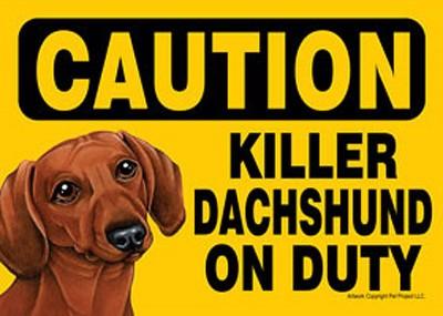 Killer-Dachshund-On-Duty-Dog-Sign-Magnet-Velcro-5×7-Red-400610935850