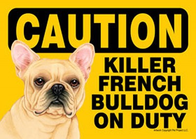 Killer-French-Bulldog-On-Duty-Dog-Sign-Magnet-Velcro-5×7-400487968505