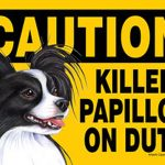 Killer-Papillon-On-Duty-Dog-Sign-Magnet-Velcro-5×7-Black-400631523858