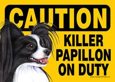 Killer-Papillon-On-Duty-Dog-Sign-Magnet-Velcro-5x7-Black-400631523858