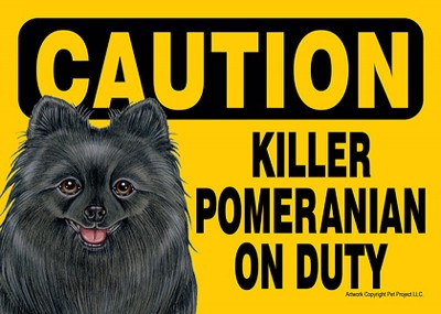 Killer-Pomeranian-On-Duty-Dog-Sign-Magnet-Velcro-5×7-Black-181287373623