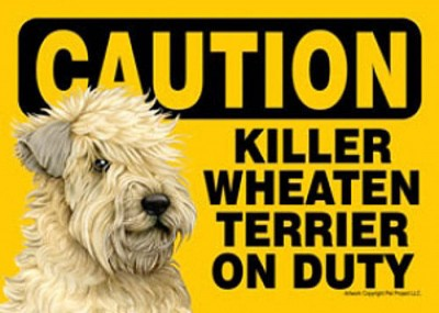Killer-Soft-Coated-Wheaton-On-Duty-Dog-Sign-Magnet-Velcro-5×7-181140185902