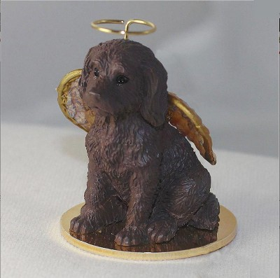 Labradoodle-Dog-Figurine-Ornament-Angel-Statue-Hand-Painted-Chocolate-400589504766