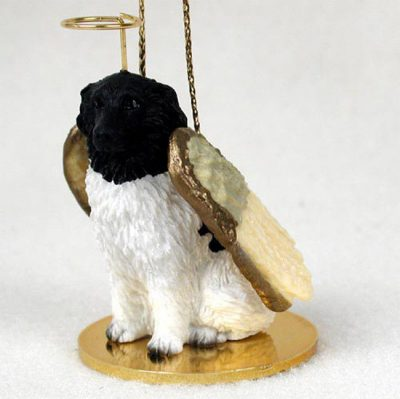 Landseer-Dog-Figurine-Angel-Statue-Hand-Painted-400201488519