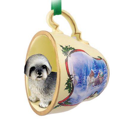 Lhasa-Apso-Dog-Christmas-Holiday-Teacup-Ornament-Figurine-Gray-Sport-400249385528