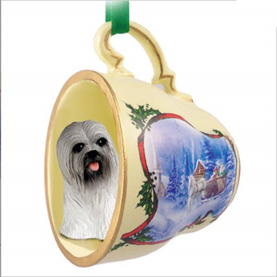 Lhasa-Apso-Dog-Christmas-Holiday-Teacup-Sleigh-Ornament-Figurine-Gray-180987488187
