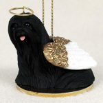 Lhasa-Apso-Dog-Figurine-Angel-Statue-Hand-Painted-Black-180637636620