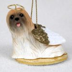 Lhasa-Apso-Dog-Figurine-Angel-Statue-Hand-Painted-Brown-180637636653