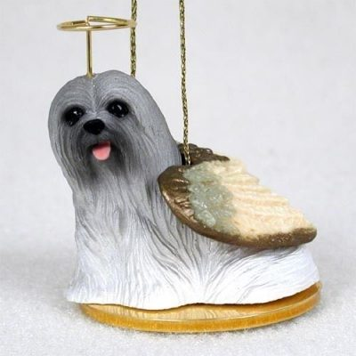 Lhasa-Apso-Dog-Figurine-Angel-Statue-Hand-Painted-Gray-180675021580