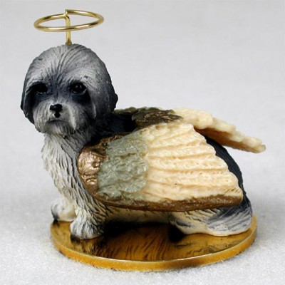 Lhasa-Apso-Dog-Figurine-Ornament-Angel-Statue-Hand-Painted-Gray-Sport-Cut-180772211130