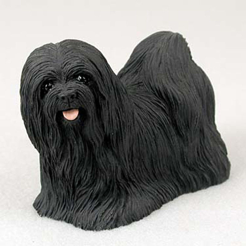lhasa apso hand painted dog figurine statue black