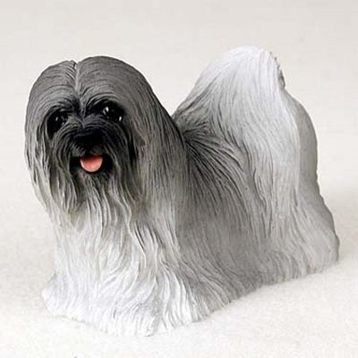 Lhasa-Apso-Hand-Painted-Dog-Figurine-Statue-Gray-400201747923