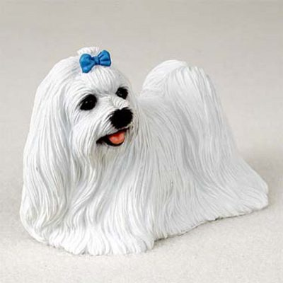 Maltese Figurine Hand Painted Dog Statue