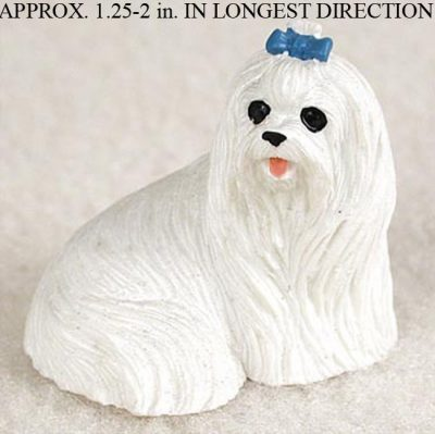 Maltese-Mini-Resin-Dog-Figurine-Statue-Hand-Painted-180644349605