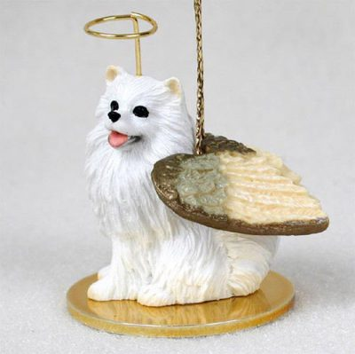 Mini-American-Eskimo-Dog-Figurine-Angel-Statue-400250978922