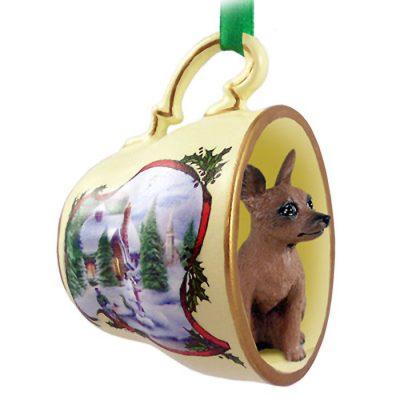 Mini-Pinscher-Dog-Christmas-Holiday-Teacup-Ornament-Figurine-RedBrown-400589053969