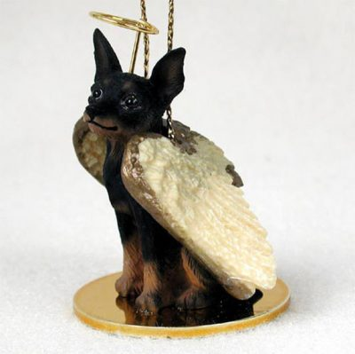 Mini-Pinscher-Dog-Figurine-Angel-Statue-BlackTan-180675021604