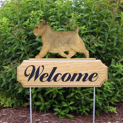 Norwich-Terrier-Dog-Breed-Oak-Wood-Welcome-Outdoor-Yard-Sign-Grizzle-400706807243