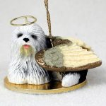 Old-English-Sheepdog-Figurine-Ornament-Angel-Statue-Hand-Painted-180772211131