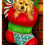Outdoor-Garden-Dog-Flag-Spaniel-Puppy-Christmas-Holiday-Stocking-181036131563