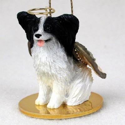 Papillon-Dog-Figurine-Angel-Statue-Black-White-400250978931