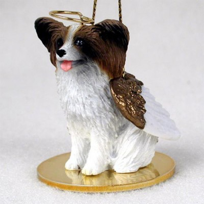 Papillon-Dog-Figurine-Ornament-Angel-Statue-Hand-Painted-Brown-White-400482564594