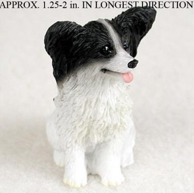 Papillon-Mini-Resin-Hand-Painted-Dog-Figurine-BlackWhite-180977788188