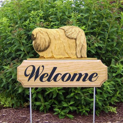 Pekingese-Dog-Breed-Oak-Wood-Welcome-Outdoor-Yard-Sign-Fawn-400706808532