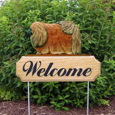 Pekingese-Dog-Breed-Oak-Wood-Welcome-Outdoor-Yard-Sign-Red-400706808649