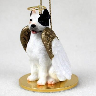 Pitbull Figurine Dog Angel Statue Hand-Painted White