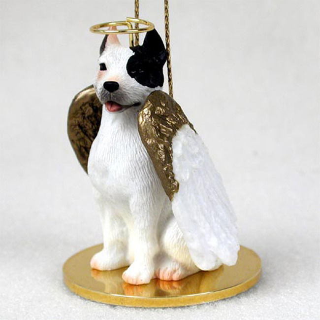 Pitbull Figurine Dog Angel Statue Hand-Painted White