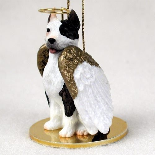 Pitbull Christmas Ornament.Pitbull Terrier Ornament Angel Figurine Hand Painted Brindle