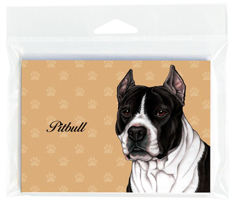 Pitbull Dog Note Cards Set of 8 with Envelopes Black/White Cropped -