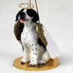 Pointer-Dog-Figurine-Angel-Statue-Hand-Painted-BlackWhite-181337620893