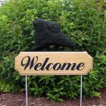 Pomeranian-Dog-Breed-Oak-Wood-Welcome-Outdoor-Yard-Sign-Black-400706809069