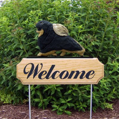 Pomeranian-Dog-Breed-Oak-Wood-Welcome-Outdoor-Yard-Sign-Black-Tan-181404201949