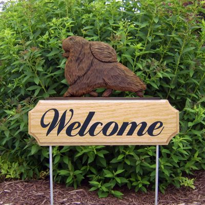 Pomeranian-Dog-Breed-Oak-Wood-Welcome-Outdoor-Yard-Sign-Brown-181404202378
