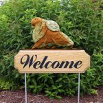 Pomeranian-Dog-Breed-Oak-Wood-Welcome-Outdoor-Yard-Sign-Orange-400706809840