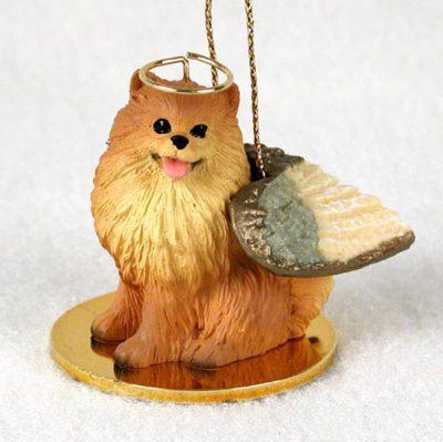 Pomeranian-Dog-Figurine-Angel-Statue-Red-400284187537