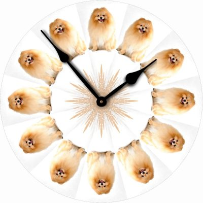 Pomeranian-Dog-Wall-Clock-10-Round-Wood-Made-in-USA-181405038911